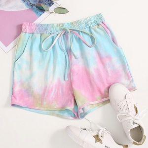 Pastel Tie-Dye High Rise Drawstring Waist Shorts